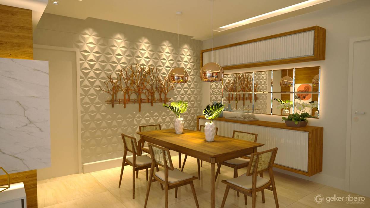 Sala de estar   Projeto Arquitetura de interiores.: Salas de jantar  por Gelker Ribeiro Arquitetura   Arquiteto Rio de Janeiro,Moderno