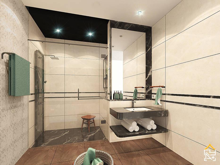 View 1 Rencana Desain Kamar Mandi dengan Granite Tile kombinasi Marmer Oleh JRY Atelier