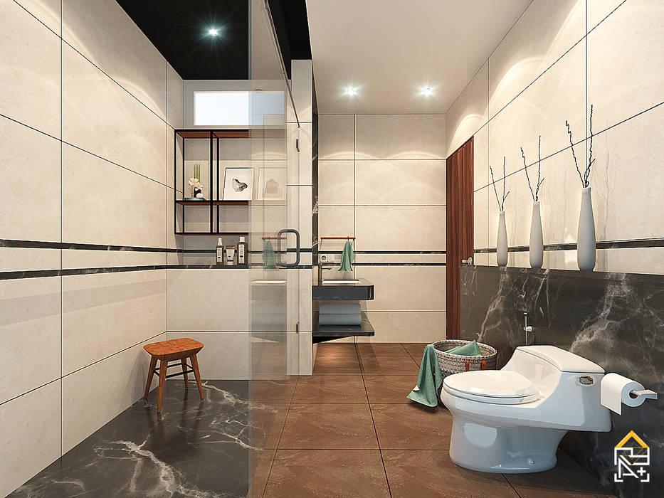 View 2 Rencana Desain Kamar Mandi dengan Granite Tile kombinasi Marmer:  oleh JRY Atelier,