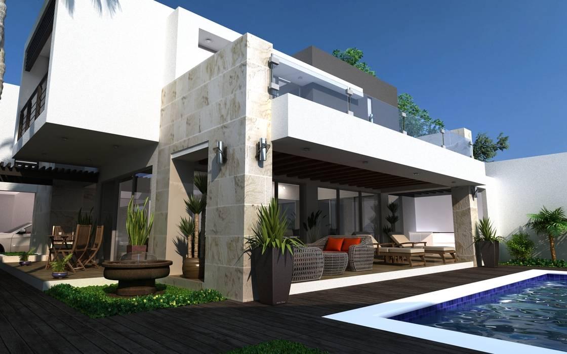 ALBERCA - TERRAZA: Casas unifamiliares de estilo  por OLLIN ARQUITECTURA