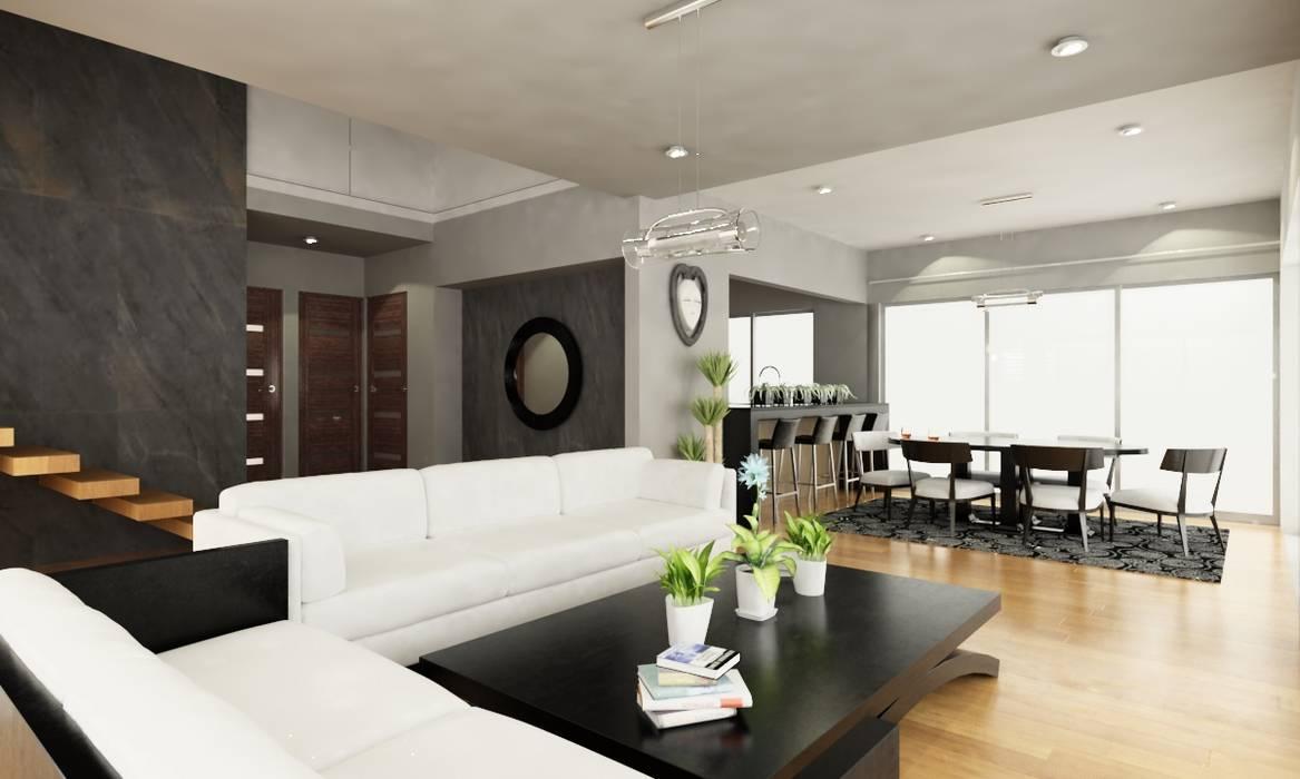 SALA DE ESTAR PRINCIPAL: Salas de estilo  por OLLIN ARQUITECTURA