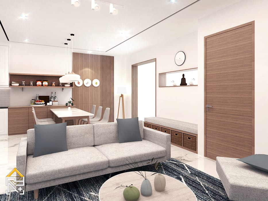 Living Room View Ruang Keluarga Gaya Skandinavia Oleh JRY Atelier Skandinavia Kayu Wood effect