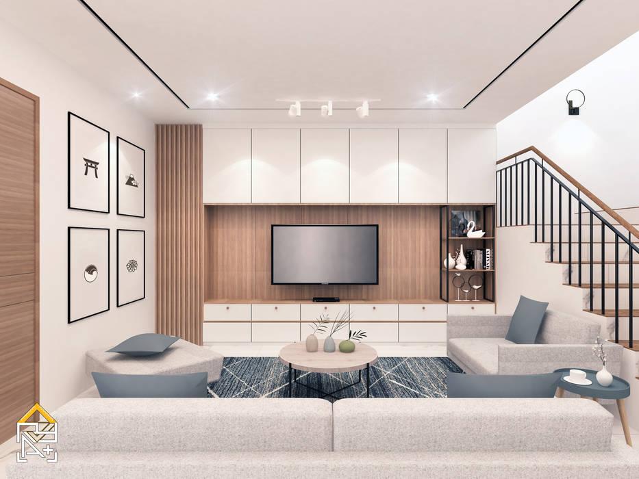 Living Room: Ruang Keluarga oleh JRY Atelier, Skandinavia Kayu Lapis