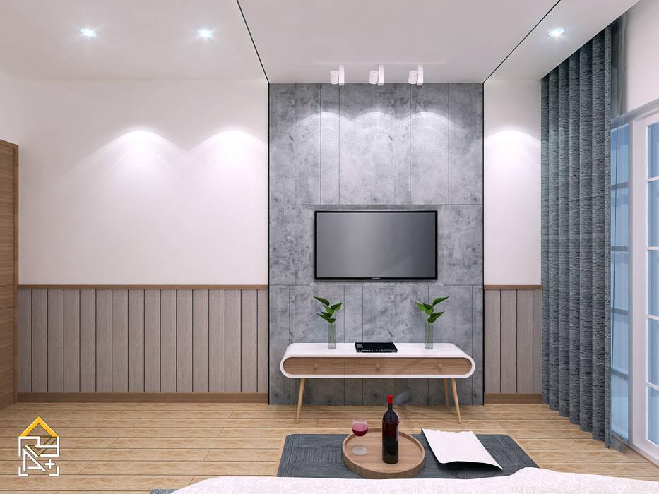 TV Backwall: Kamar Tidur oleh JRY Atelier, Skandinavia Kayu Lapis