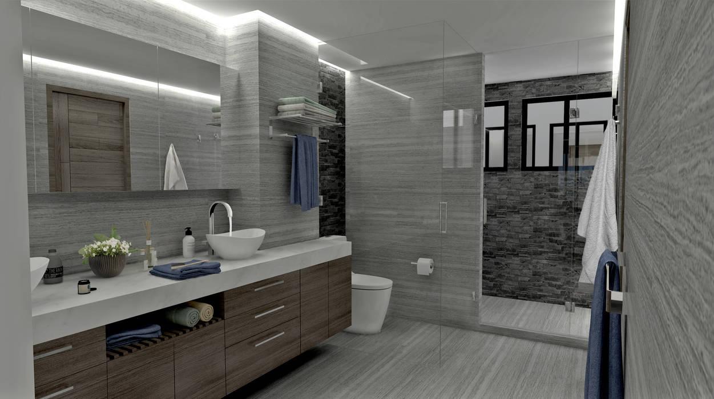 CASA VESTALES: Baños de estilo  por Guindi Interiorismo
