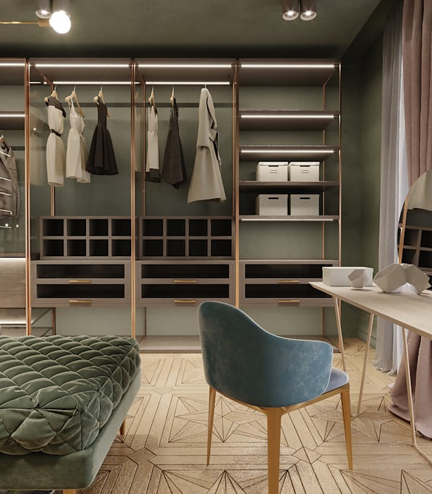 Tropical style dressing room by Premium Club Tropical Wood Wood effect