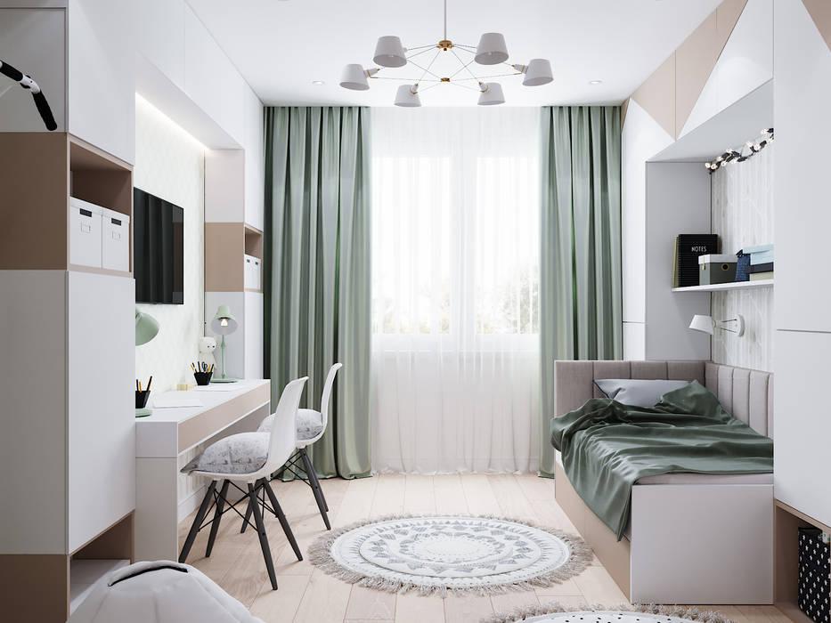 Дизайн - проект двухкомнатной квартиры 60 кв.м. Москва: Детские комнаты в . Автор – CUBE INTERIOR,