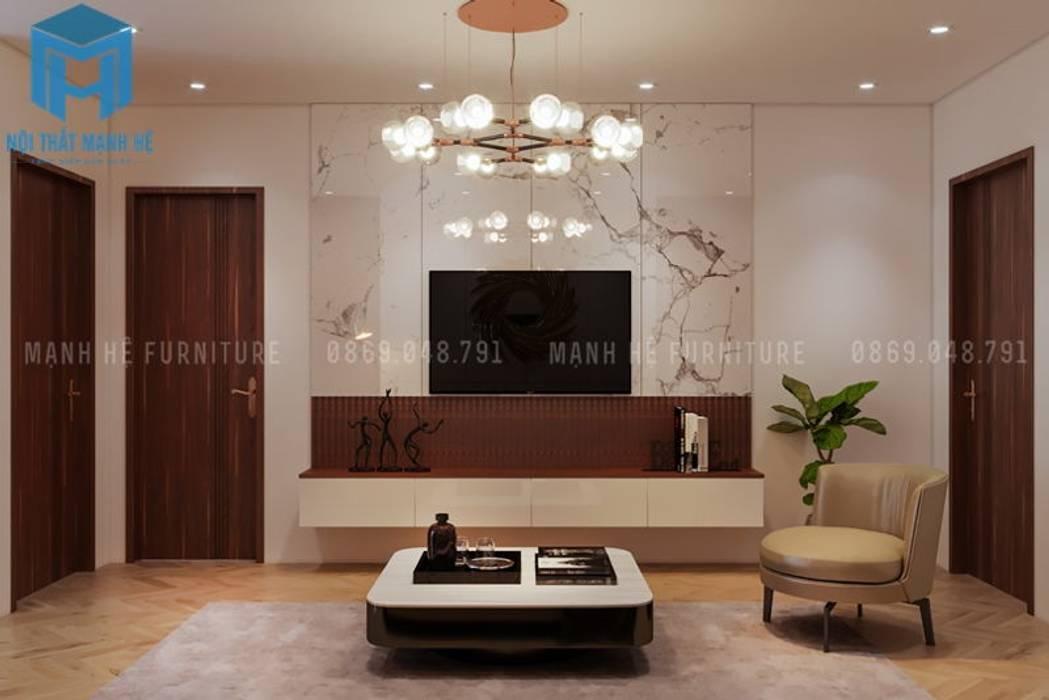 Không gian phòng khách khá hiện đại và tinh tế:  Phòng khách by Công ty TNHH Nội Thất Mạnh Hệ