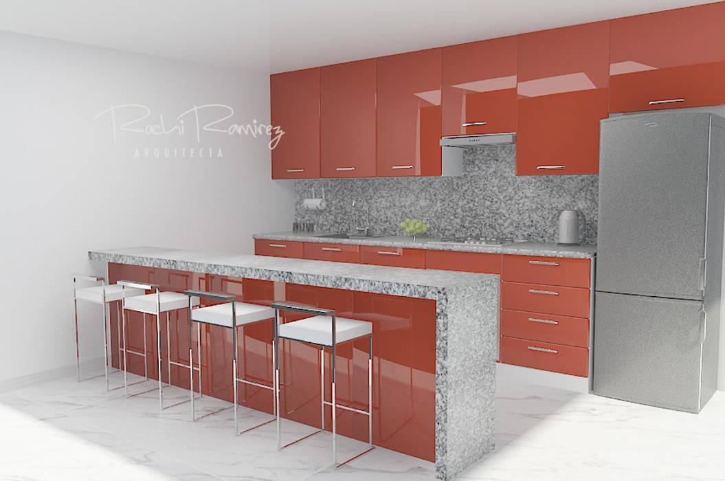 DISEÑO OPCION ROJO: Muebles de cocinas de estilo  por Estudio R&R, Minimalista