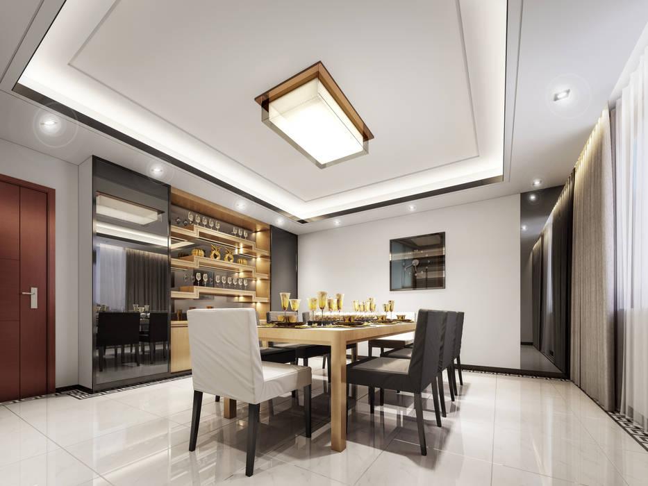 غرفة الطعام:  غرفة السفرة تنفيذ Luxury Solutions, حداثي الخشب هندسيا Transparent