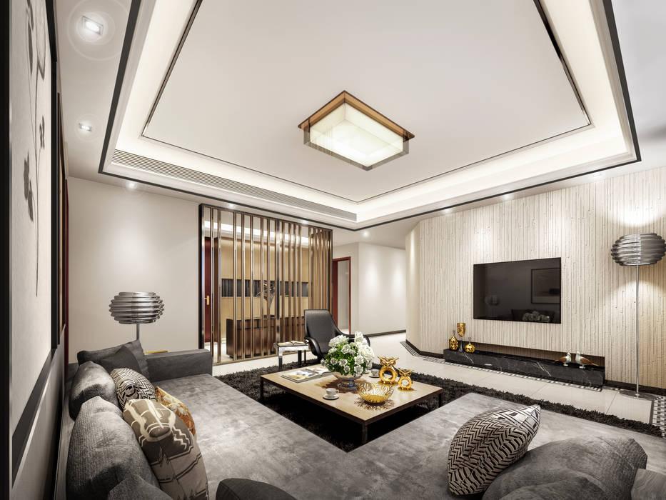 غرفة المعيشة :  غرفة المعيشة تنفيذ Luxury Solutions