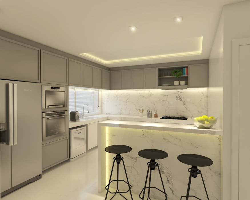 Sala de Estar|Jantar e Cozinha contato: arquitetura@beecriativa.com.br Cozinhas modernas por Bee Arquitetura Criativa Moderno