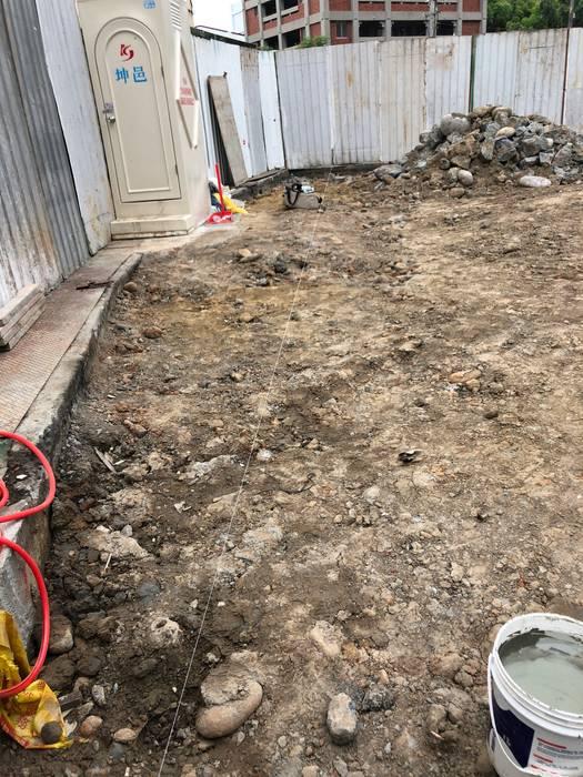 開挖前,利用水線放樣出要開挖的範圍 根據 讚基營造有限公司