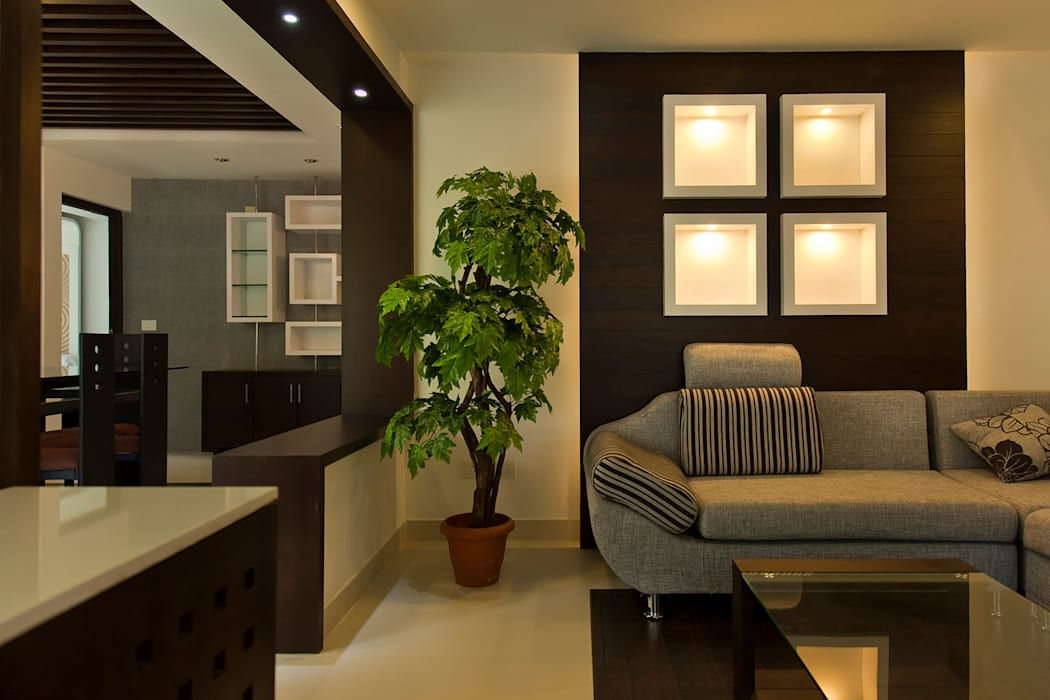 Modern Living Room by S Squared Architects Pvt Ltd. Modern