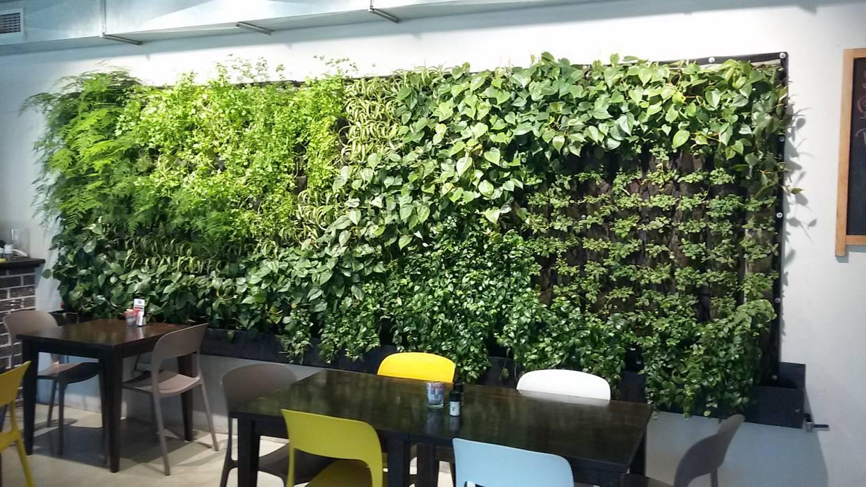 Taman menempel dinding Dinding & Lantai Tropis Oleh Jasa tukang taman gresik Tropis Bambu Green