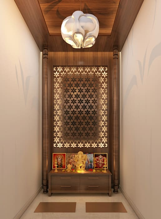 Pooja Room:  Living room by Inside Element