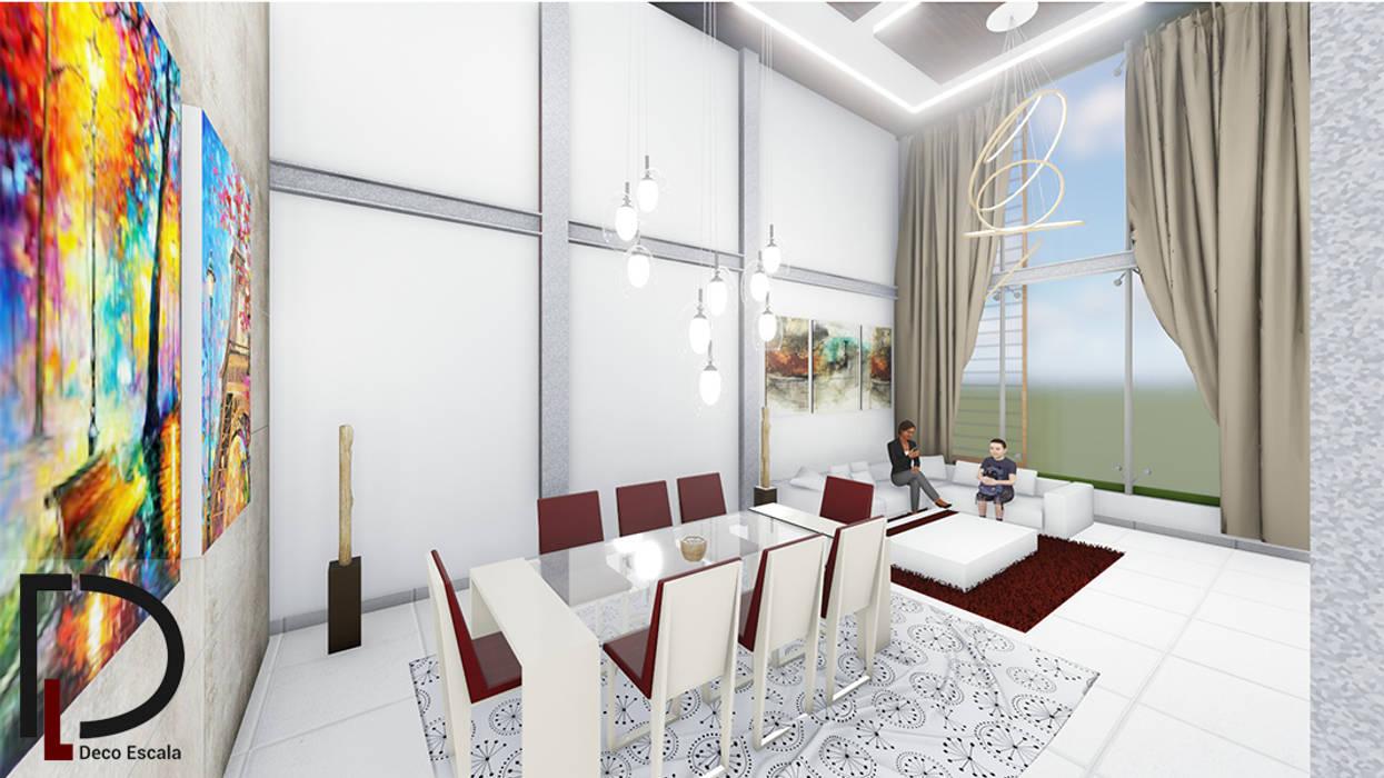 SALA-COMEDOR Comedores de estilo moderno de DECOESCALA ARQ JHON LEAL Moderno Concreto