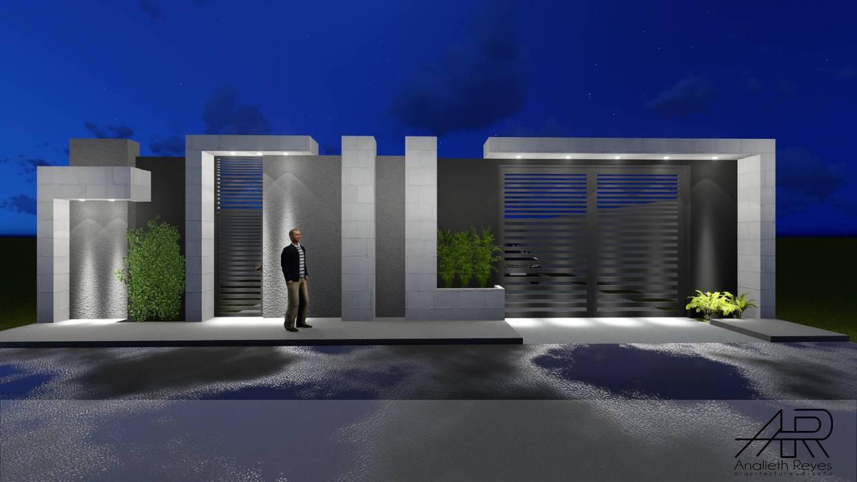 VISTA FRONTAL Puertas de estilo minimalista de Analieth Reyes - Arquitectura y Diseño Minimalista Concreto