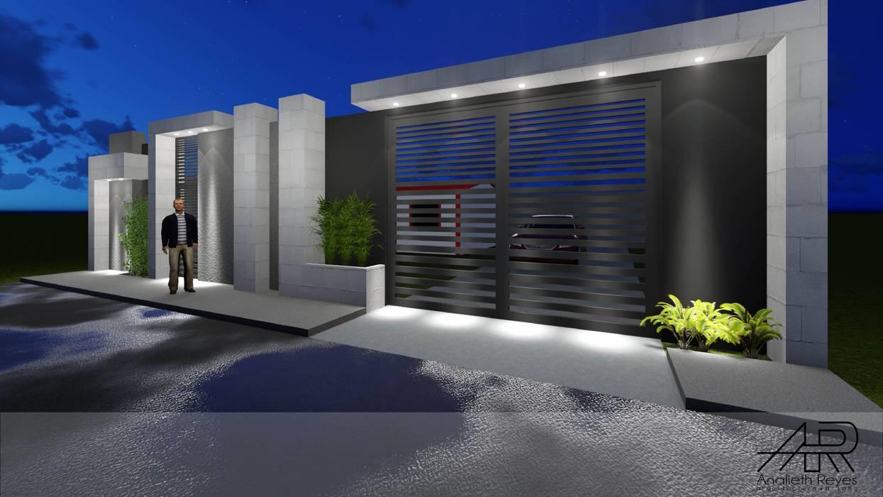 VISTA LATERAL: Puertas principales de estilo  por Analieth Reyes - Arquitectura y Diseño,