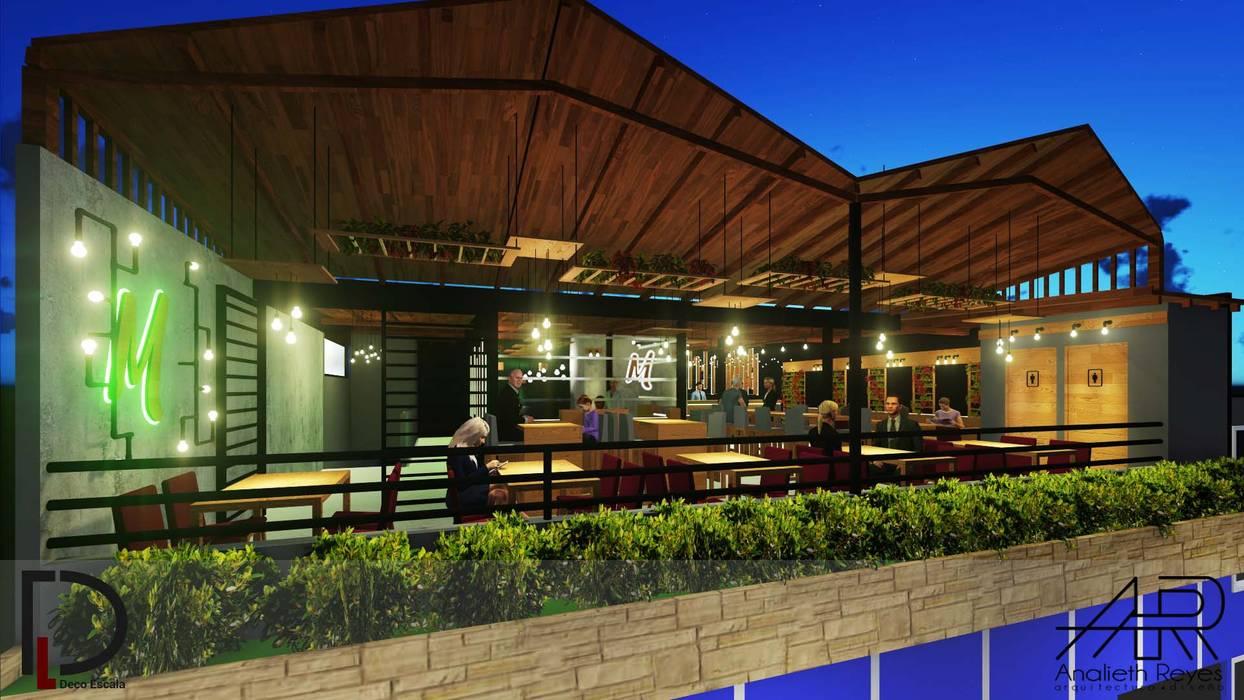 VISTA LATERAL: Terrazas de estilo  por Analieth Reyes - Arquitectura y Diseño, Moderno Piedra