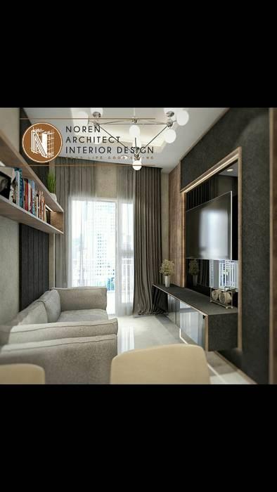 Living room signature park grande Ruang Keluarga Modern Oleh norenarchitecture Modern Kayu Lapis