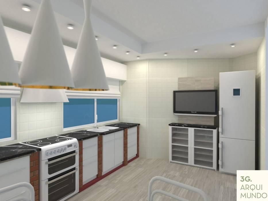 Cocina: Muebles de cocinas de estilo  por Arquimundo 3g - Diseño de Interiores - Ciudad de Buenos Aires