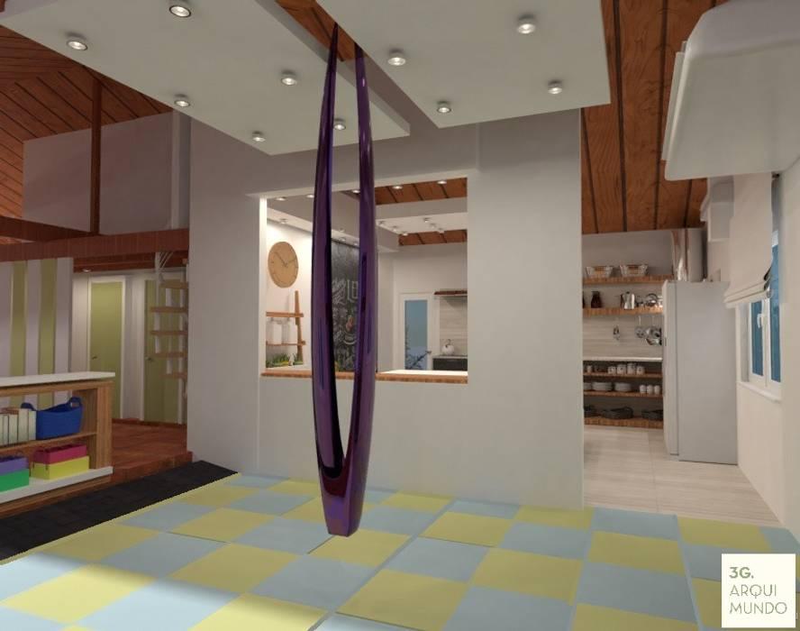Sala de yoga aéreo: Escuelas de estilo  por Arquimundo 3g - Diseño de Interiores - Ciudad de Buenos Aires