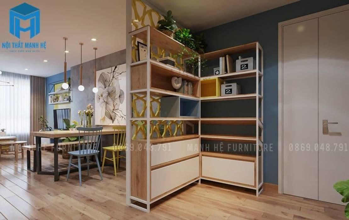 Sử dụng vách ngăn kệ trang trí để tạo không gian riêng giữa phòng bếp với phòng khách và phòng ăn:  Tường by Công ty TNHH Nội Thất Mạnh Hệ, Hiện đại