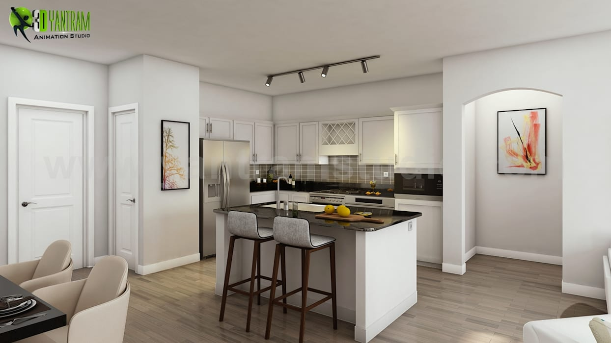 Best 3d interior design firm of apartment with kitchen ...