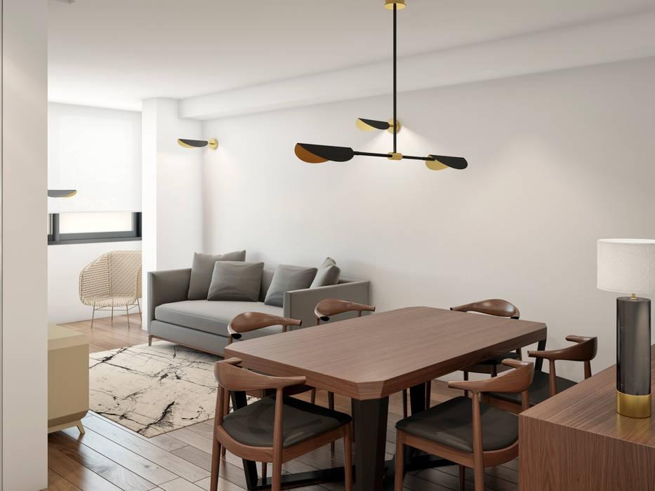 uma sala, três ambientes: Sala de estar  por Alma Braguesa Furniture