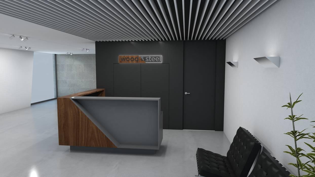 WOOD&STEEL Escritórios industriais por Miguel Zarcos Palma Industrial