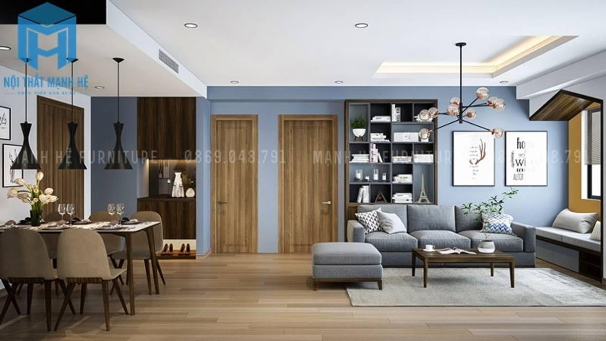 Tổng thể không gian phòng khách của căn hộ bởi Công ty TNHH Nội Thất Mạnh Hệ Hiện đại