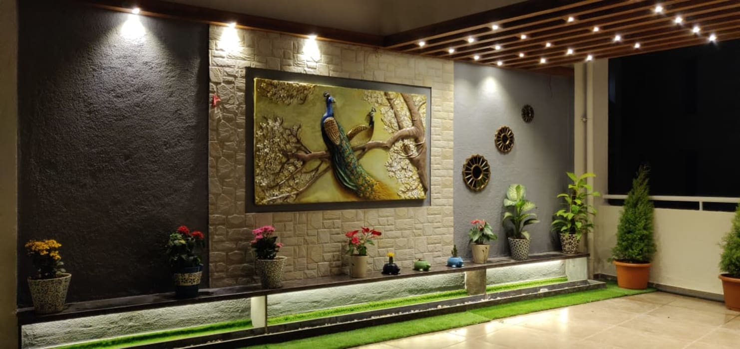 3BHK luxurious apartment with spacious terrace:  Terrace by The D'zine Studio,Modern