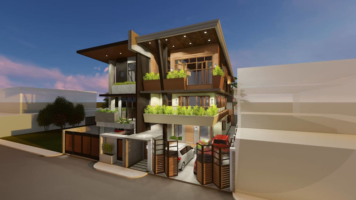3-Storey Residence, Taguig:  Townhouse by Structura Architects,