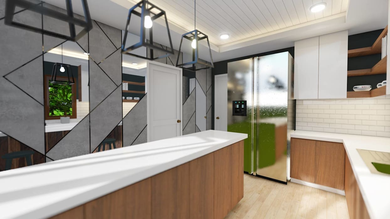 3-Storey Residence, Taguig:  Built-in kitchens by Structura Architects, Modern Copper/Bronze/Brass