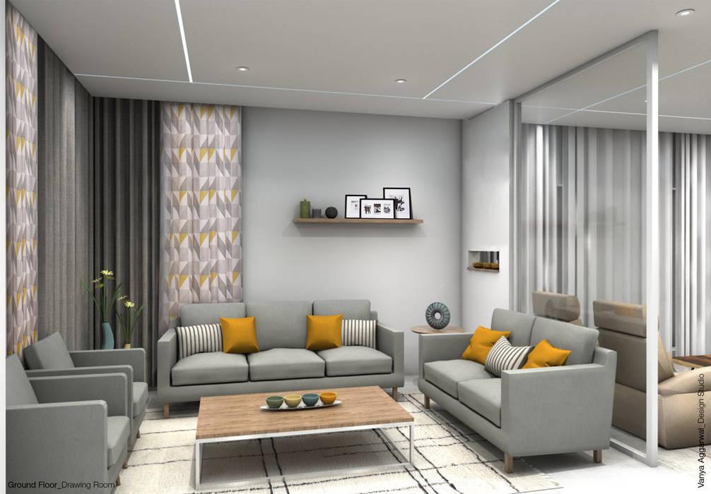 Drawing Room Interiors:  Living room by VA design studio