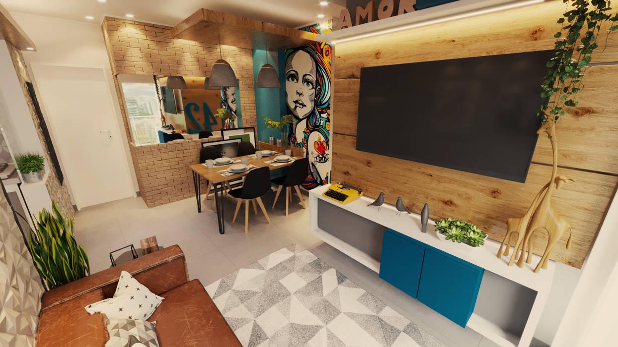 Painel da TV madeira rustica Salas de estar industriais por Gelker Ribeiro Arquitetura | Arquiteto Rio de Janeiro Industrial