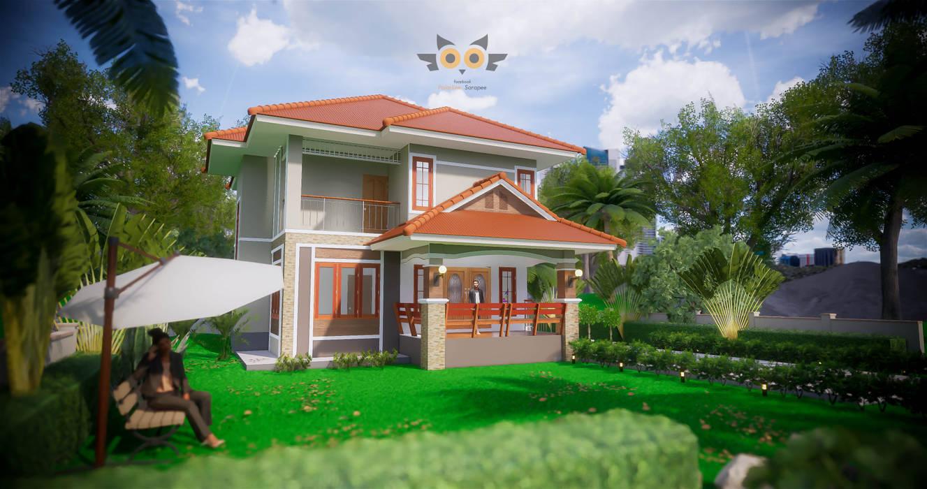 บ้านพักอาศัยสองชั้น 7:  บ้านสำหรับครอบครัว by แบบบ้านออกแบบบ้านเชียงใหม่