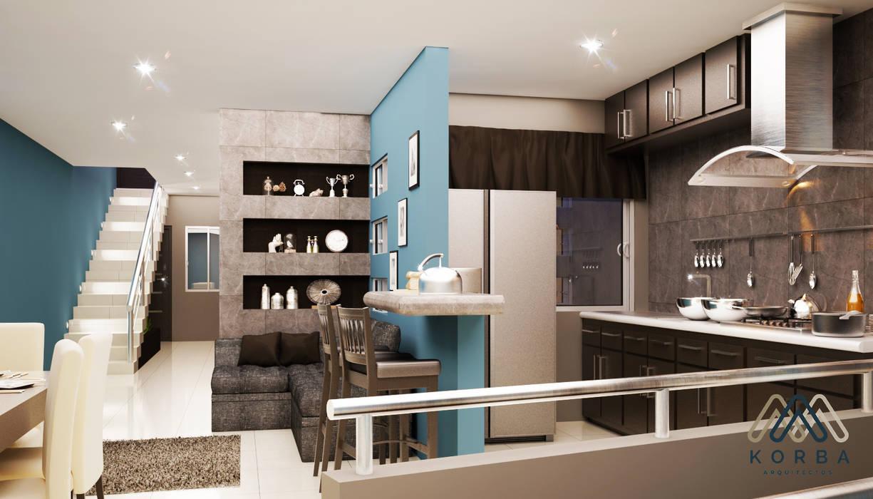COCINA, COMEDOR Y SALA: Cocinas equipadas de estilo  por KORBA Arquitectos