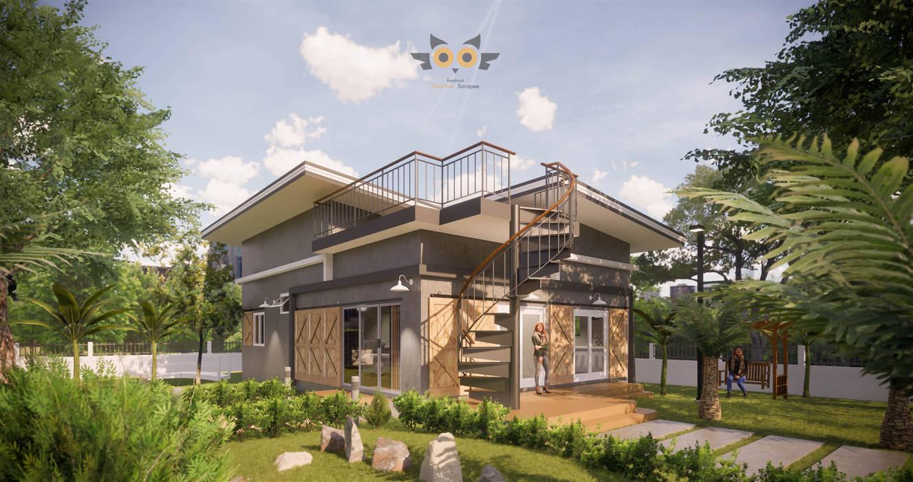 บ้านพักตากอากาศ:  บ้านสำหรับครอบครัว by แบบบ้านออกแบบบ้านเชียงใหม่