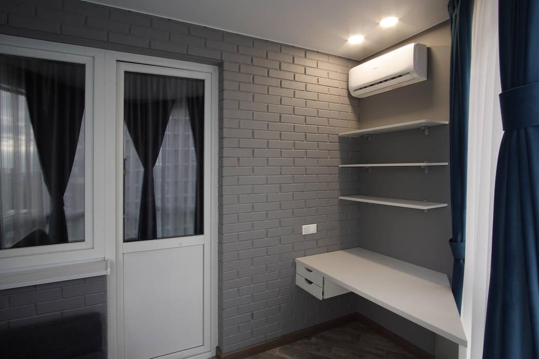 """2-комнатная квартира ЖК """"7 континент"""", г.Краснодар: балконы в . Автор – Студия интерьерного дизайна happy.design,"""