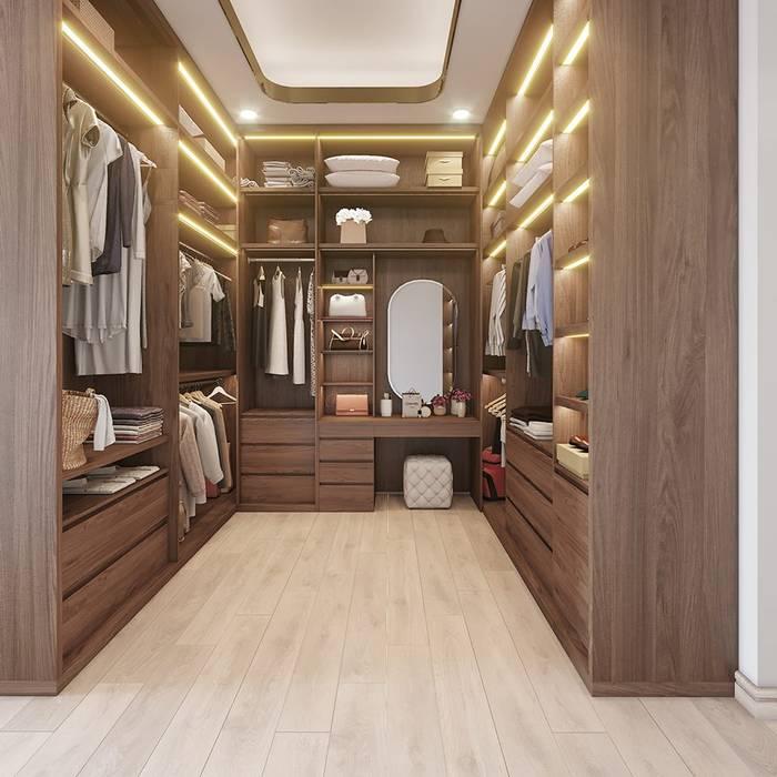 Phòng thay đồ khá rộng rãi Phòng thay đồ phong cách hiện đại bởi Công ty TNHH Nội Thất Mạnh Hệ Hiện đại