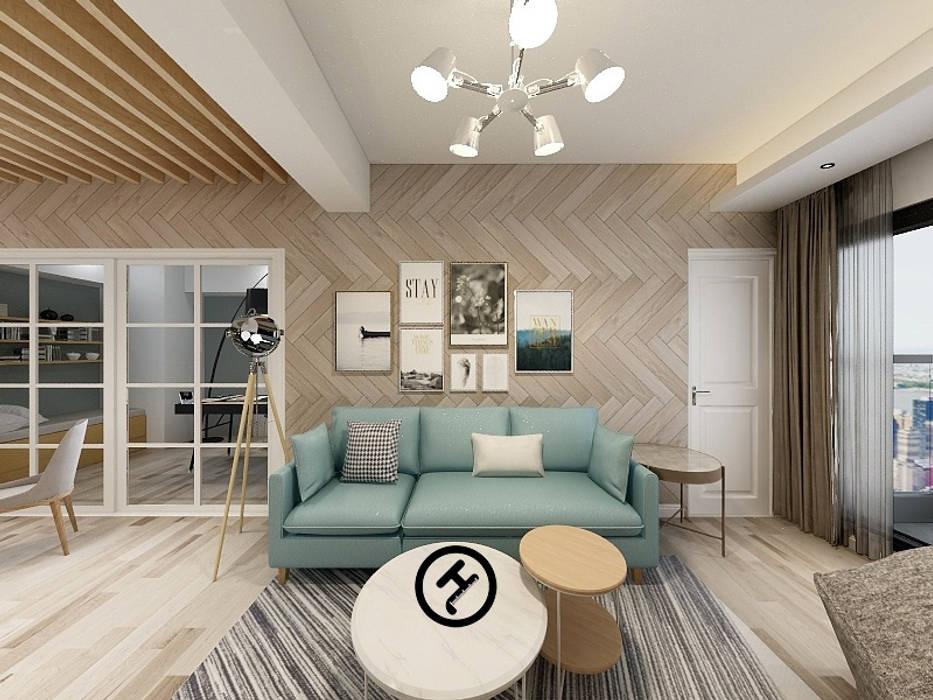 17坪北歐風兩房一廳-完成設計:  牆面 by 知森數位開發有限公司, 北歐風 複合木地板 Transparent