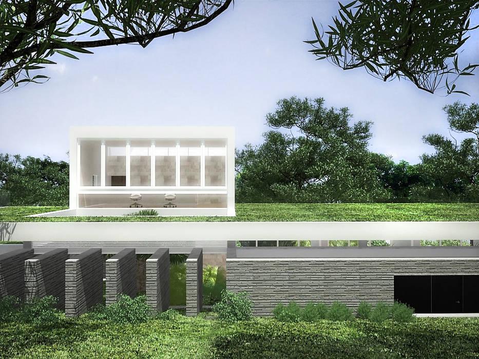 Sonoma: Jardines en la fachada de estilo  por RRA Arquitectura, Minimalista Piedra