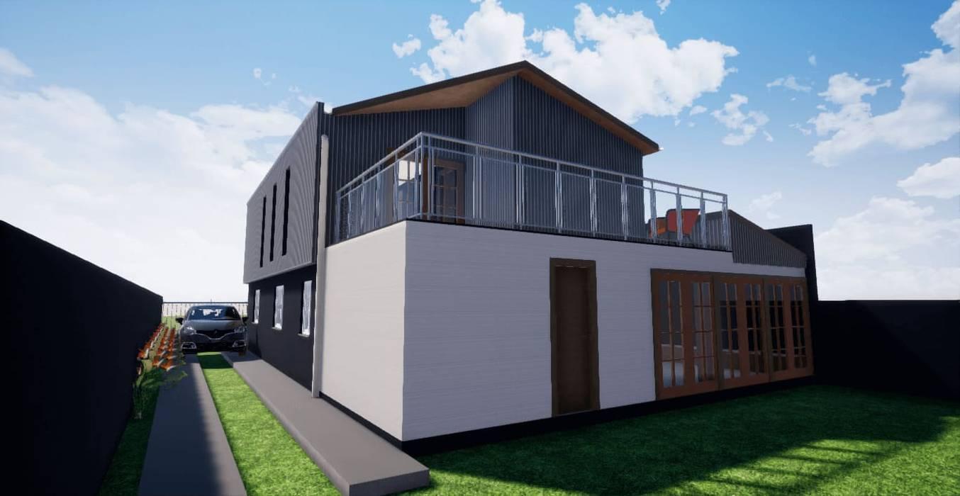 Vista sur-poniente_Render_3D: Casas unifamiliares de estilo  por BIM Urbano