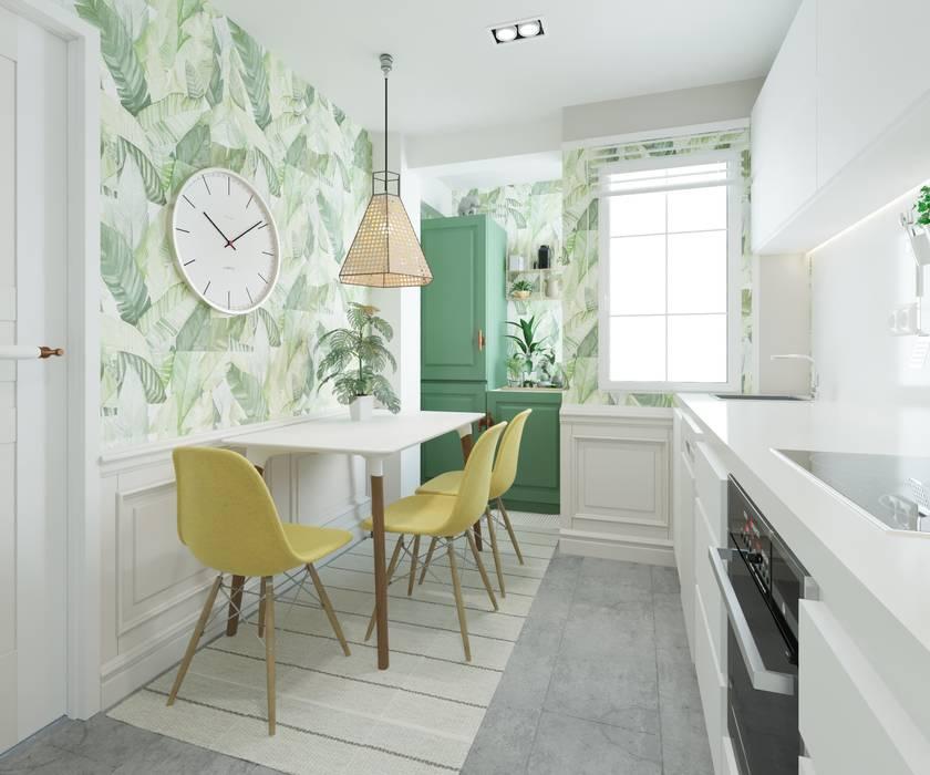 Cocina con color: Cocinas pequeñas de estilo  de NRN diseño de interiores,