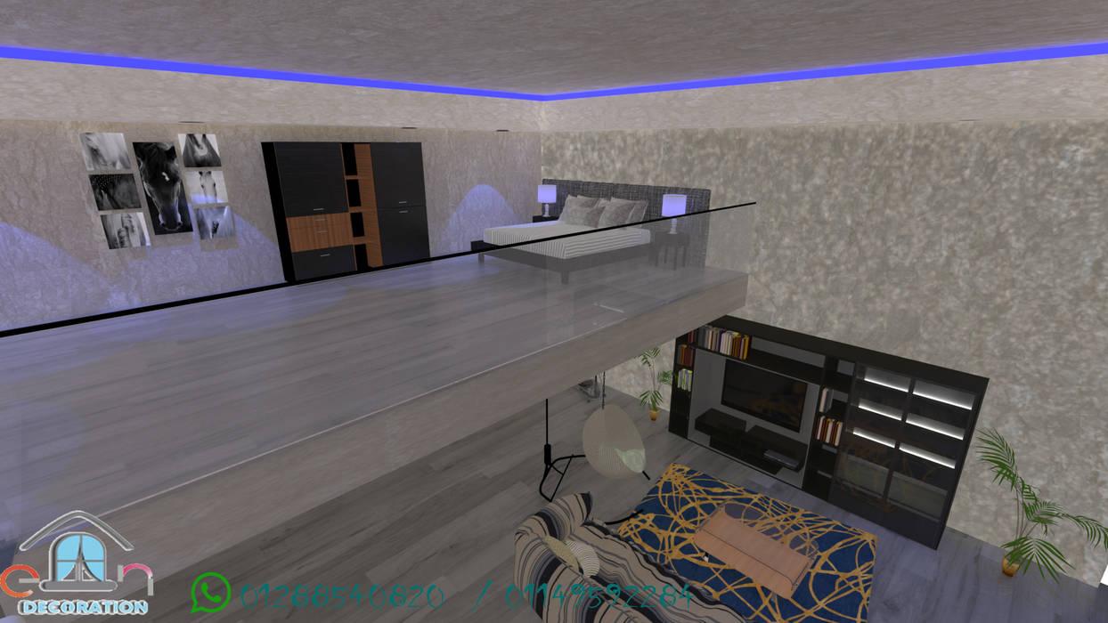 غرفه نوم في الطابق الثاني من en decoration حداثي