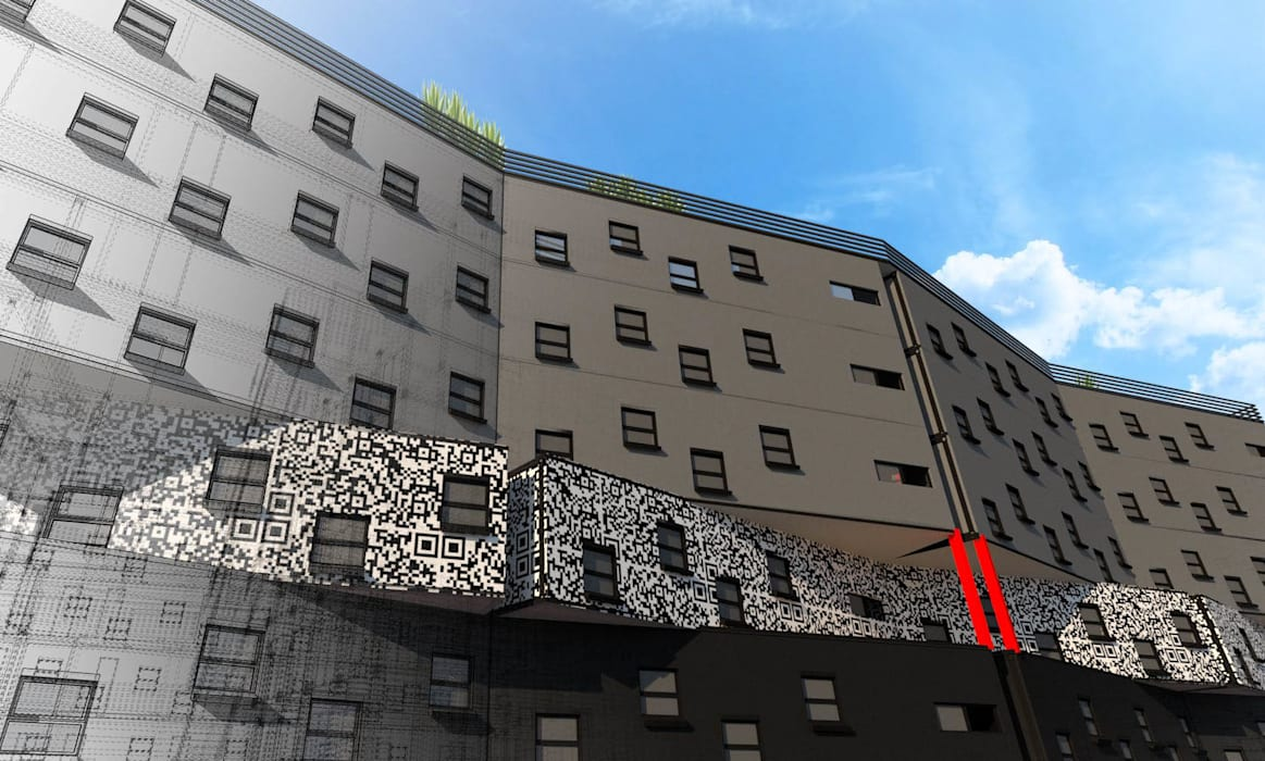 Side facade A4AC Architects Modern hotels Iron/Steel Grey