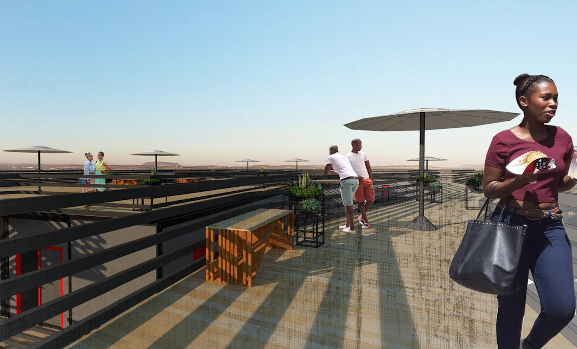 Roof deck A4AC Architects Modern hotels Iron/Steel Black
