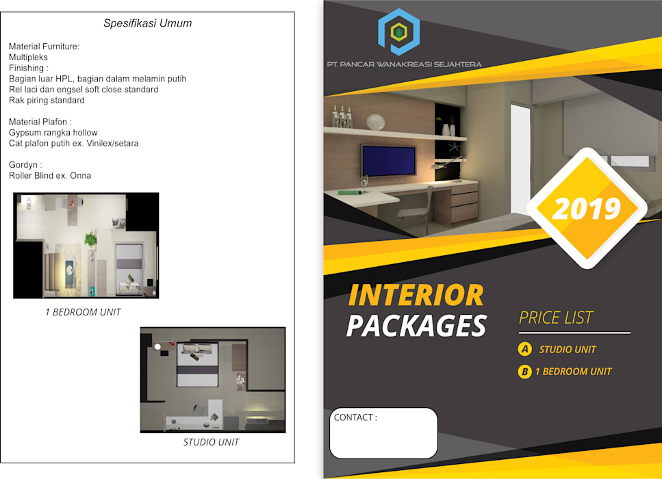 Interior 1 Bedroom Bandara City Apartment Oleh PT. PANCAR KREASI ABADI